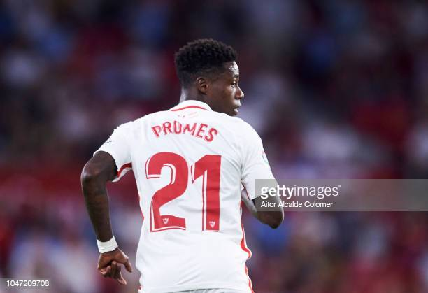 Quincy Promes of Sevilla FC reacts during the La Liga match between Sevilla FC and RC Celta de Vigo at Estadio Ramon Sanchez Pizjuan on October 7...