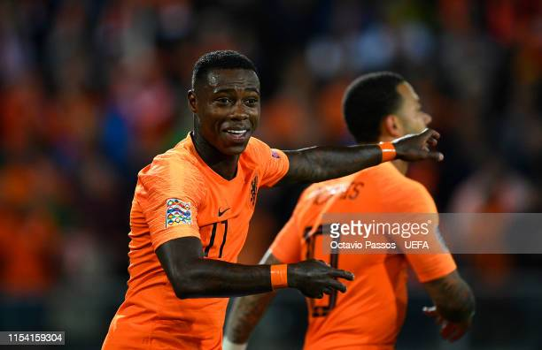 Quincy Promes of the Netherlands celebrates after scoring his sides third goal during the UEFA Nations League SemiFinal match between the Netherlands...