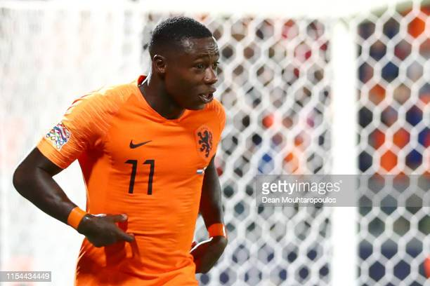 Quincy Promes of The Netherlands celebrates scoring his teams third goal of the game during the UEFA Nations League SemiFinal match between the...