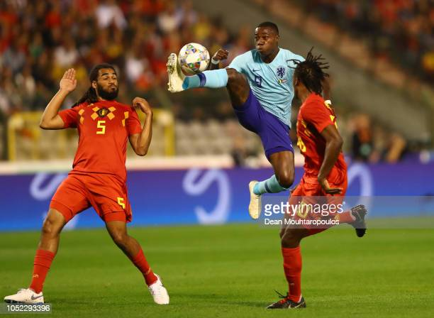 Quincy Promes of the Netherlands controls the ball in the air during the International Friendly match between Belgium and Netherlands at King...