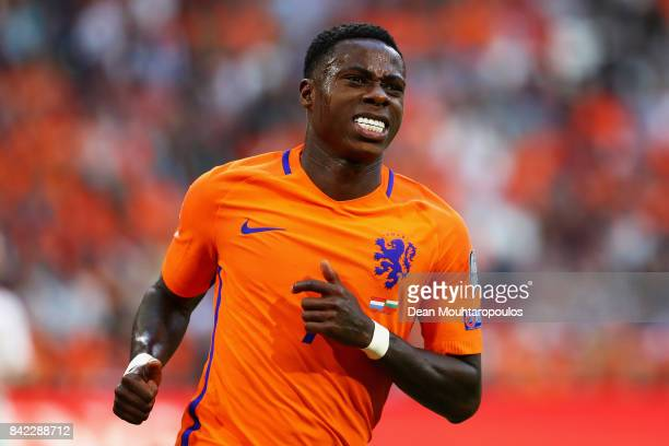 Quincy Promes of the Netherlands reacts to a missed chance on goal during the FIFA 2018 World Cup Qualifier between the Netherlands and Bulgaria held...
