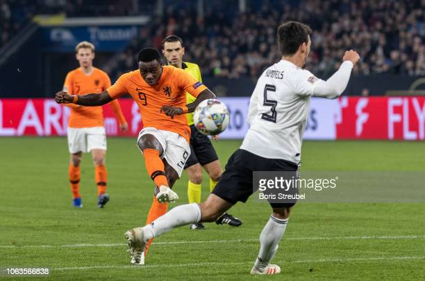 Quincy Promes of the Netherlands scores his team's first goal during the UEFA Nations League A group one match between Germany and Netherlands at...
