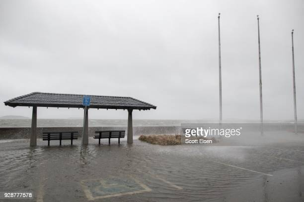 Quincy Shore Drive suffers minor flooding from Quincy Bay as a major nor'easter barrels into the northeastern US on March 7 2018 in Quincy...