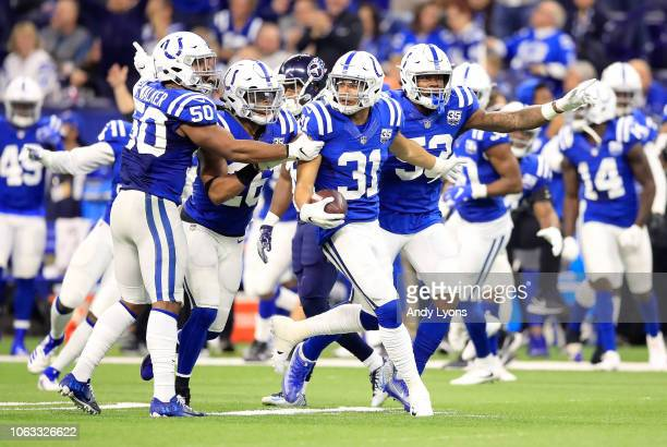 Quincy Wilson of the Indianapolis Colts celebrates after a defensive play in the game against the Tennessee Titans at Lucas Oil Stadium on November...