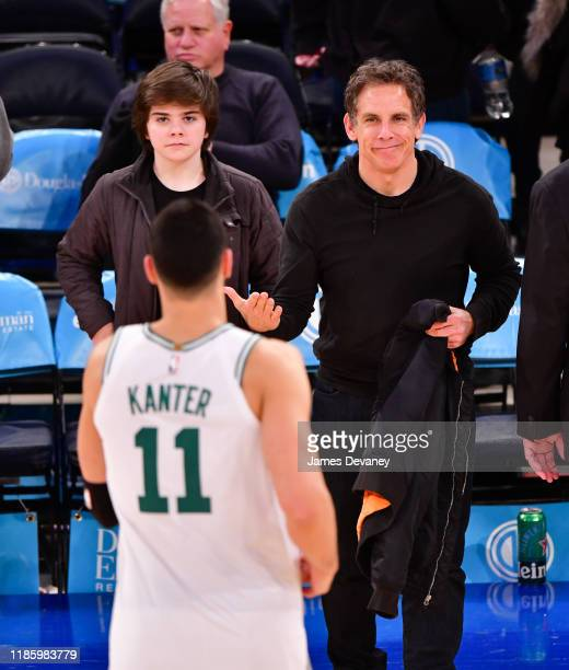 Quinlin Stiller and Ben Stiller attend Boston Celtics v New York Knicks game at Madison Square Garden on December 1 2019 in New York City