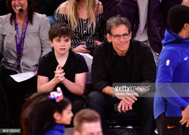 Quinlin Stiller and Ben Stiller attend New York Knicks Vs Milwaukee Bucks game at Madison Square Garden on April 7 2018 in New York City