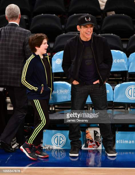 Quinlin Stiller and Ben Stiller attend the Brooklyn Nets vs New York Knicks game at Madison Square Garden on October 29 2018 in New York City