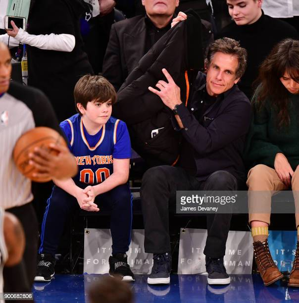 Quinlin Stiller and Ben Stiller attend the New York Knicks Vs San Antonio Spurs game at Madison Square Garden on January 2 2018 in New York City
