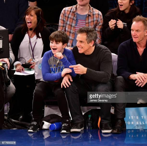 Quinlin Stiller and Ben Stiller attend the Toronto Raptors Vs New York Knicks game at Madison Square Garden on November 22 2017 in New York City
