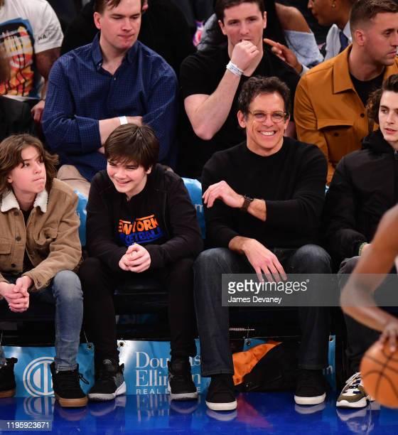 Quinlin Stiller and Ben Stiller attend Toronto Raptors v New York Knicks game at Madison Square Garden on January 24 2020 in New York City
