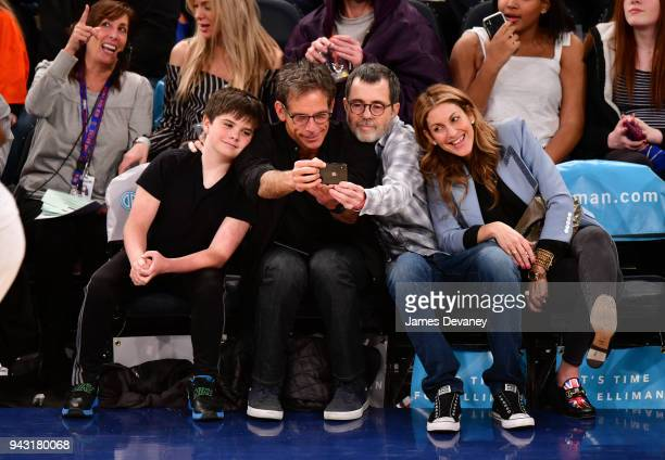 Quinlin Stiller Ben Stiller and guests attend New York Knicks Vs Milwaukee Bucks game at Madison Square Garden on April 7 2018 in New York City