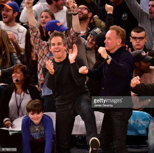 Quinlin Stiller Ben Stiller and Sting attend the Toronto Raptors Vs New York Knicks game at Madison Square Garden on November 22 2017 in New York City