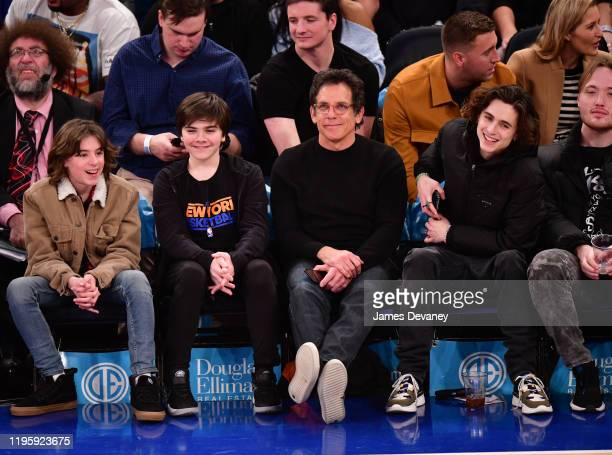 Quinlin Stiller Ben Stiller and Timothee Chalamet attend Toronto Raptors v New York Knicks game at Madison Square Garden on January 24 2020 in New...