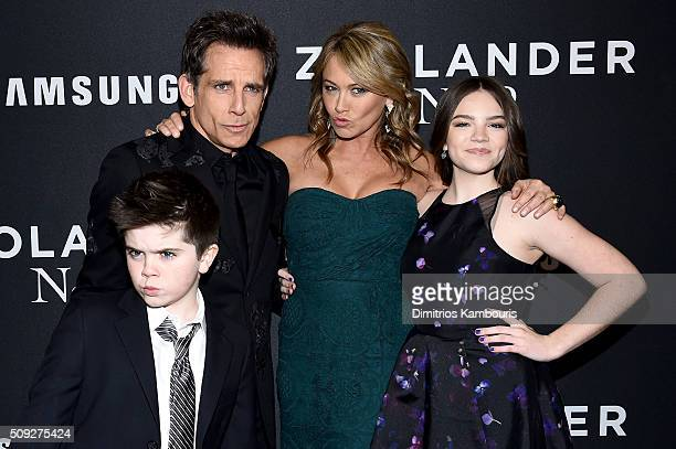 Quinlin Stiller Ben Stiller Christine Taylor and Ella Stiller attend the Zoolander 2 World Premiere at Alice Tully Hall on February 9 2016 in New...