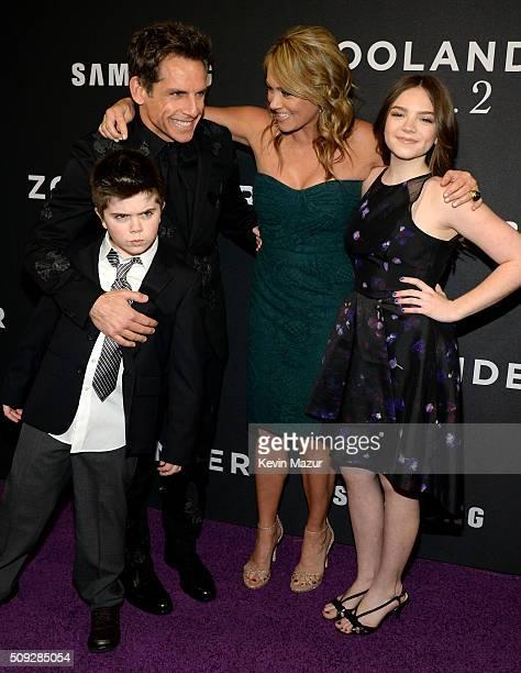 Quinlin Stiller Ben Stiller Christine Taylor and Ella Stiller attend the Zoolander 2 World Premiere at Alice Tully Hall on February 9 2016 in New...