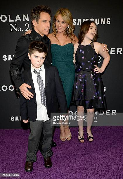 "Quinlin Stiller, Ben Stiller, Christine Taylor and Ella Stiller attend the ""Zoolander 2"" World Premiere at Alice Tully Hall on February 9, 2016 in..."