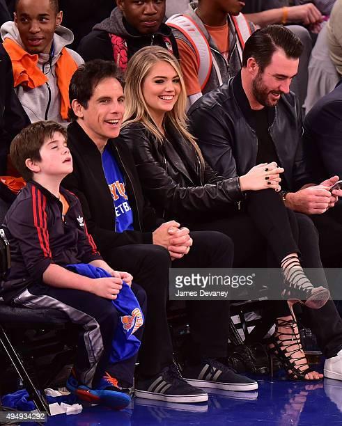 Quinlin Stiller Ben Stiller Kate Upton and Justin Verlander attend the Atlanta Hawks vs New York Knicks game at Madison Square Garden on October 29...