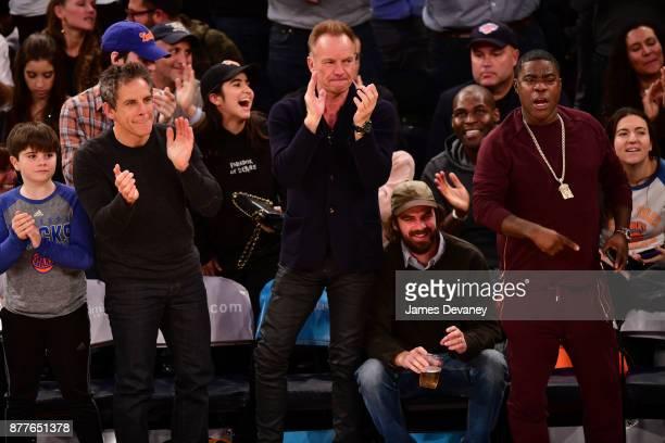 Quinlin Stiller Ben Stiller Sting guest and Tracy Morgan attend the Toronto Raptors Vs New York Knicks game at Madison Square Garden on November 22...