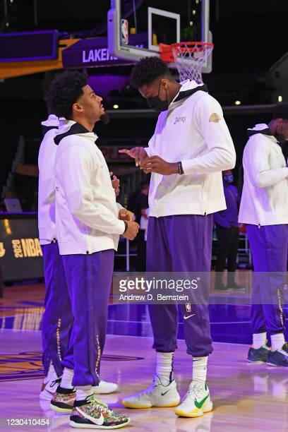 Quinn Cook and Kostas Antetokounmpo of the Los Angeles Lakers react as they get their 2019-20 NBA Championship ring during the ring ceremony before...