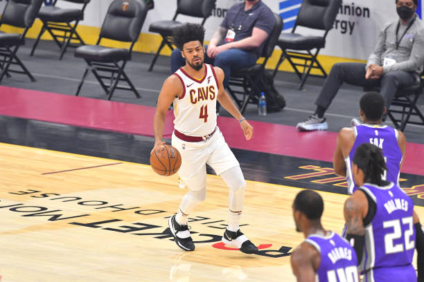 Quinn Cook of the Cleveland Cavaliers brings the ball up court during the first quarter against the Sacramento Kings at Rocket Mortgage Fieldhouse on...