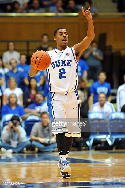 Quinn Cook of the Duke Blue Devils calls a play against the WinstonSalem State Rams at Cameron Indoor Stadium on November 1 2012 in Durham North...
