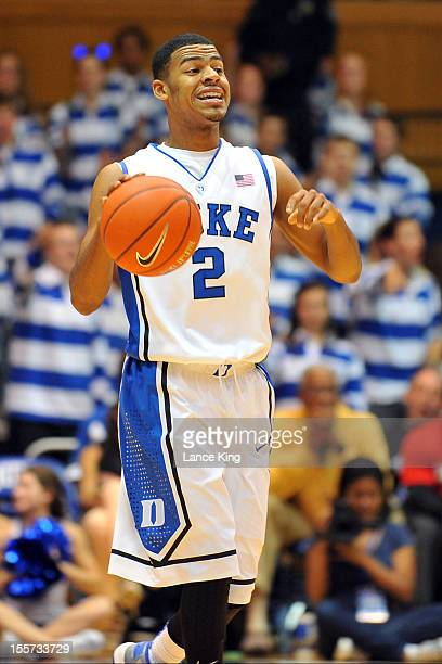 Quinn Cook of the Duke Blue Devils dribbles against the WinstonSalem State Rams at Cameron Indoor Stadium on November 1 2012 in Durham North Carolina...