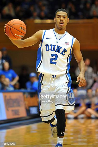 Quinn Cook of the Duke Blue Devils dribbles up court against the WinstonSalem State Rams at Cameron Indoor Stadium on November 1 2012 in Durham North...
