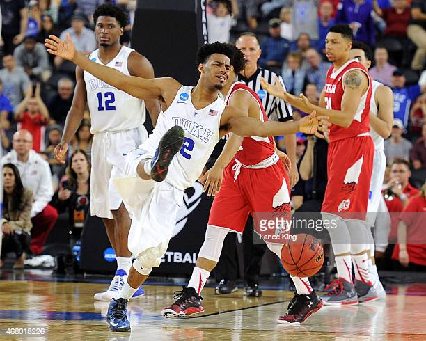 Quinn Cook of the Duke Blue Devils reacts after being fouled late in the game against the Utah Utes during the South Regional Semifinal round of the...
