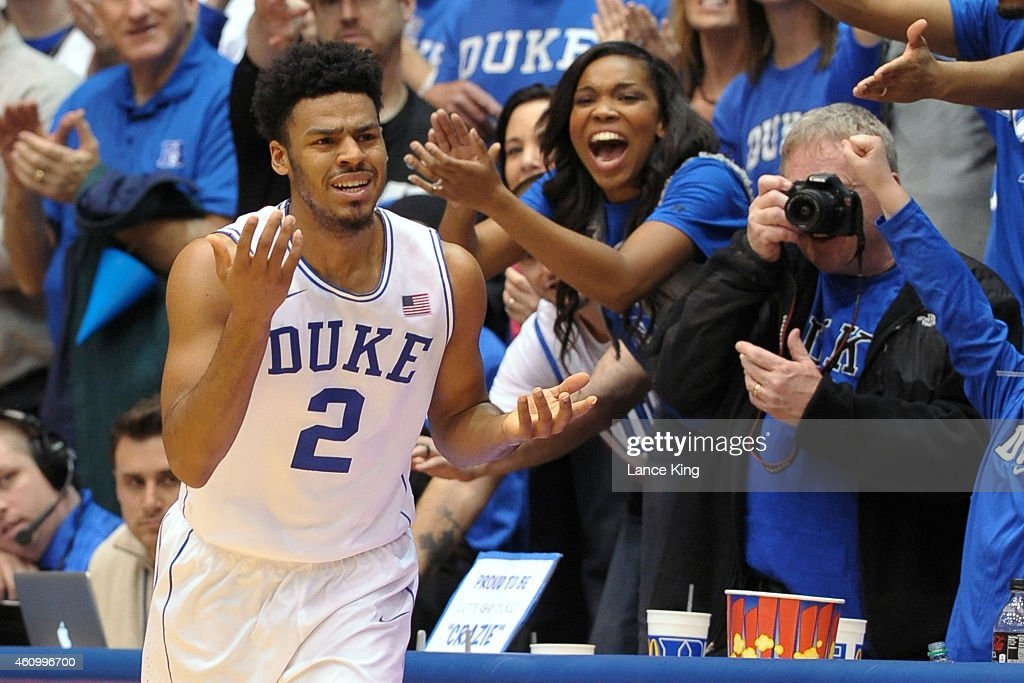 Quinn Cook #2 of the Duke Blue Devils reacts following a three-point basket during their game against the Boston College Eagles at Cameron Indoor Stadium on January 3, 2015 in Durham, North Carolina.