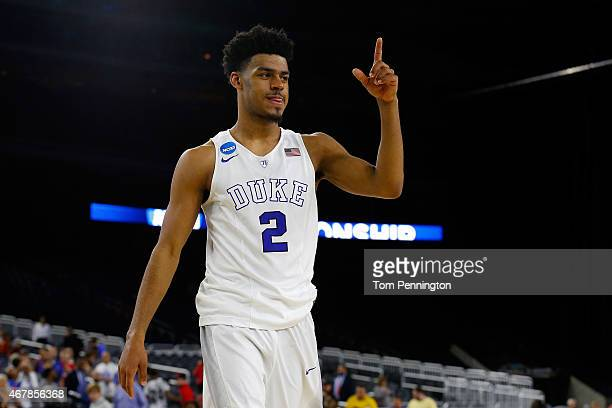 Quinn Cook of the Duke Blue Devils walks off the court after defeating the Utah Utes 6357 during a South Regional Semifinal game of the 2015 NCAA...