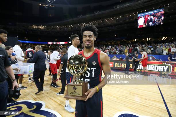 Quinn Cook of the East Team shows off his NBA DLeague AllStar Game MVP trophy following the NBA DLeague AllStar Game presented by Kumho Tires as part...