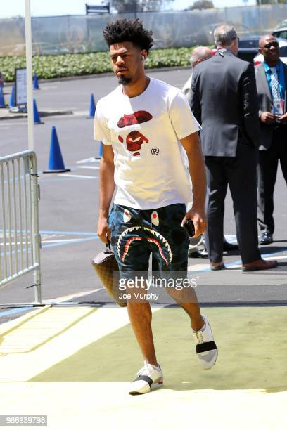 Quinn Cook of the Golden State Warriors arrives before the game against the Cleveland Cavaliers in Game Two of the 2018 NBA Finals on June 3 2018 at...