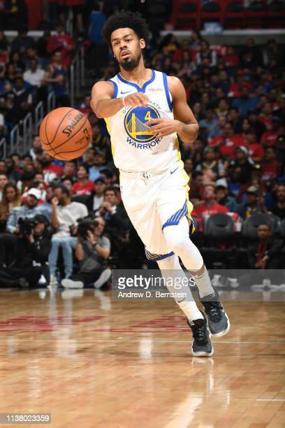 Quinn Cook of the Golden State Warriors passes the ball against the LA Clippers in Game Three of Round One of the 2019 NBA Playoffs on April 18 2019...
