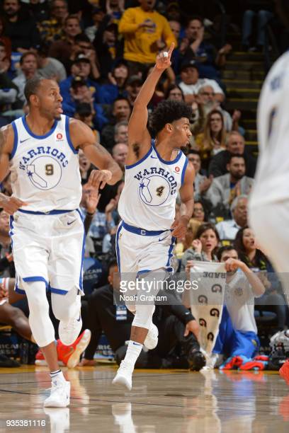 Quinn Cook of the Golden State Warriors reacts during the game against the Sacramento Kings on March 16 2018 at ORACLE Arena in Oakland California...