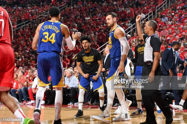 Quinn Cook of the Golden State Warriors reacts to a play against the Houston Rockets during Game Six of the Western Conference Semifinals of the 2019...