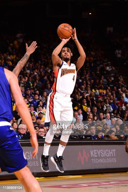 Quinn Cook of the Golden State Warriors shoots the ball against the LA Clippers on April 7 2019 at ORACLE Arena in Oakland California NOTE TO USER...