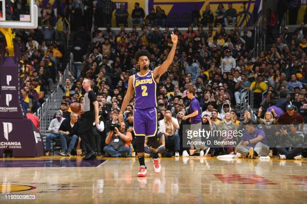 Quinn Cook of the Los Angeles Lakers celebrates during the game against the Orlando Magic on January 15 2020 at STAPLES Center in Los Angeles...