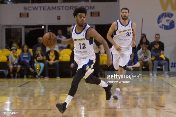 Quinn Cook of the Santa Cruz Warriors dribbles the ball against the South Bay Lakers during an NBA GLeague game on November 4 2017 at Kaiser...