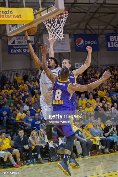 Quinn Cook of the Santa Cruz Warriors drives to the basket against the South Bay Lakers during an NBA GLeague game on November 4 2017 at Kaiser...
