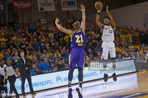 Quinn Cook of the Santa Cruz Warriors shoots the ball against the South Bay Lakers during an NBA GLeague game on November 4 2017 at Kaiser Permanente...