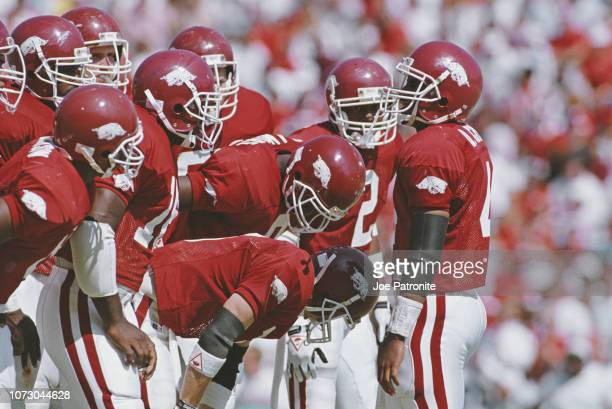 Quinn Grovey Quarterback for the University of Arkansas Razorbacks in the huddle with his offensive line during the NCAA Southwest Conference college...