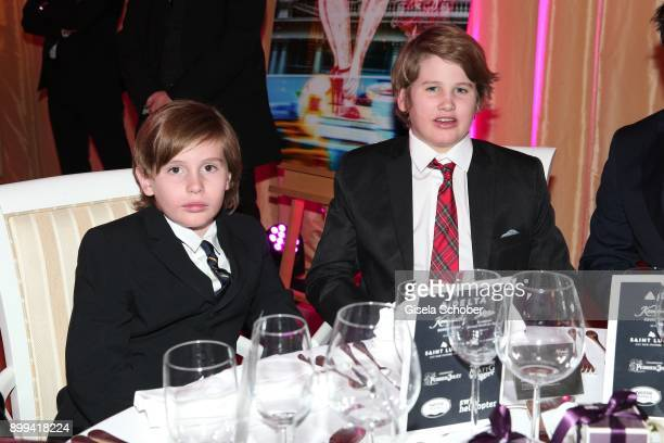 Quinn Kelly Stone and his brother Laird Vonne Stone sons of Sharon Stone during the charity gala benefiting 'Planet Hope' foundation at Kempinski...