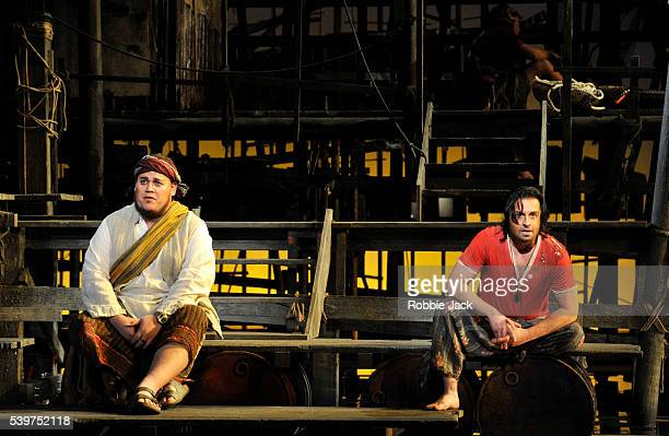 Quinn Kelsey as Zurga and Alfie Boe as Nadir in the English National Opera's production of Georges Bizet's The Pearl Fishers directed by Penny...
