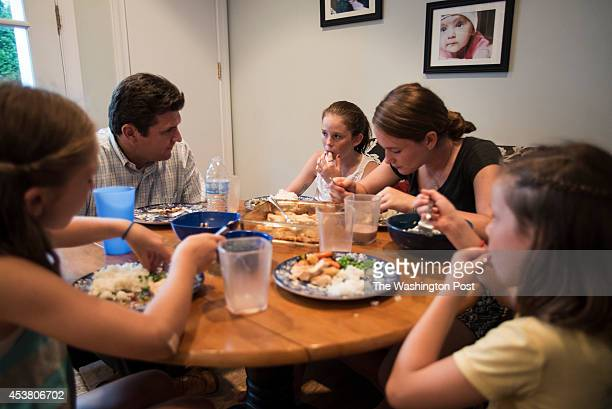 Quinn Murray Sean Murray Maeve Murray Meghan Murray and Coco Murray have dinner at home on Thursday July 24 2014 in Chevy Chase MD