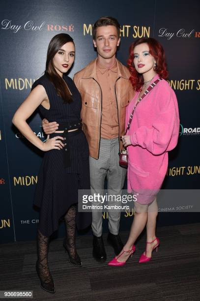 Quinn Shephard Patrick Schwarzenegger and Bella Thorne attend the screening of Midnight Sun at The Landmark at 57 West on March 22 2018 in New York...