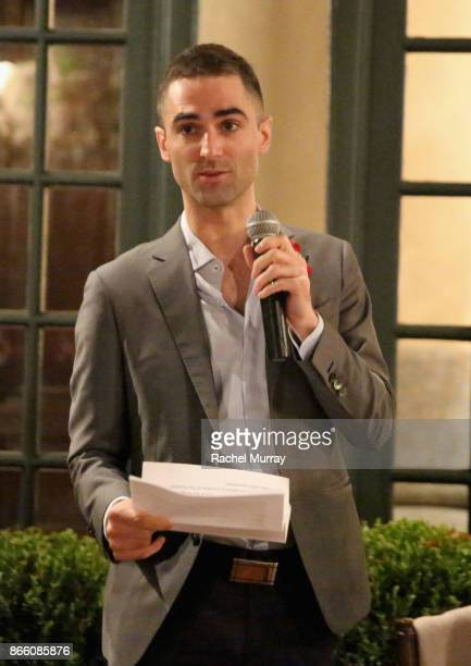 Quinn Tivey speaks at The Elizabeth Taylor AIDS Foundation and mothers2mothers dinner at Ron Burkle's Green Acres Estate on October 24 2017 in...