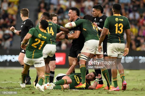 Quinn Tupaea of the All Blacks celebrates during the Rugby Championship match between the New Zealand All Blacks and the South African Springboks at...