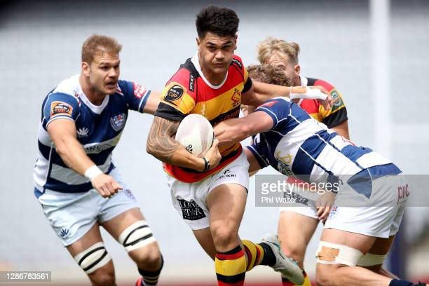 Quinn Tupaea of Waikato is tackled during the Mitre 10 Cup Semi Final match between Auckland and Waikato at Eden Park on November 21 2020 in Auckland...
