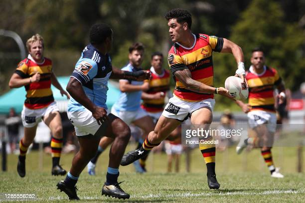 Quinn Tupaea of Waikato looks to pass during the round 10 Mitre 10 Cup match between Northland and Waikato at Kaikohe RFC on November 14, 2020 in...