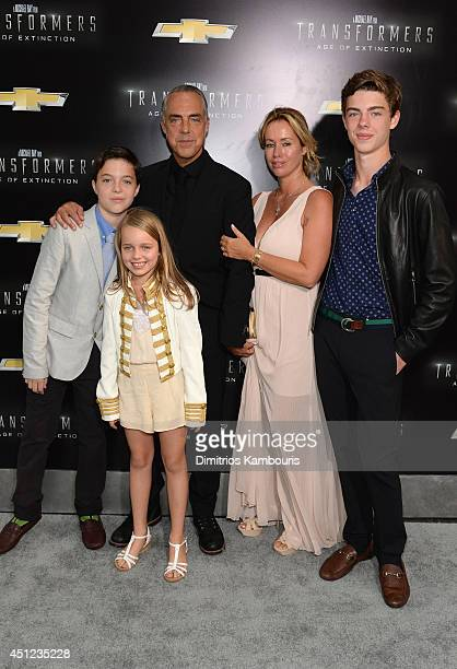Quinn Welliver Cora Welliver actor Titus Welliver Jose Stemkens and Eamon Welliver attend the New York Premiere of Transformers Age Of Extinction at...